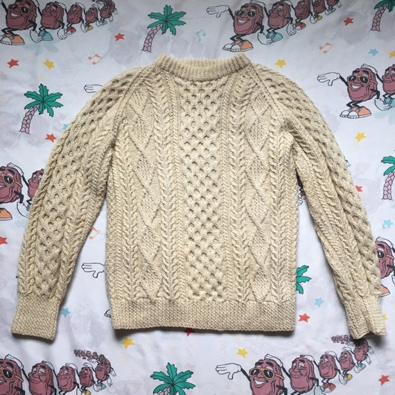 Vintage 50's/60's Cream Colored Donegal Hand Knit