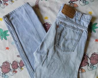 Vintage 90's Levi's 505 Orange Tab Jeans, 30x30 light wash Worn In high waist