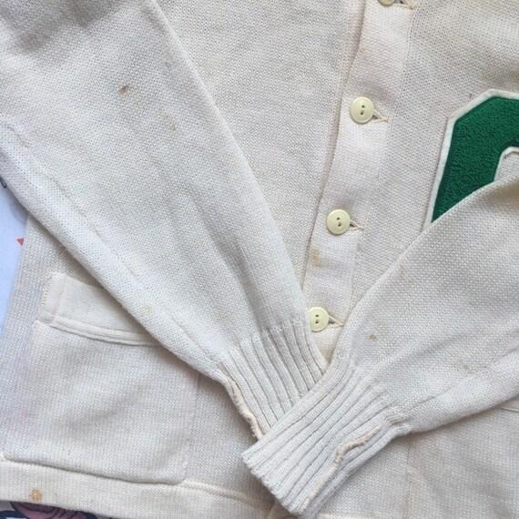 Vintage 50's Letterman Cardigan Sweater, size Sma… - image 4
