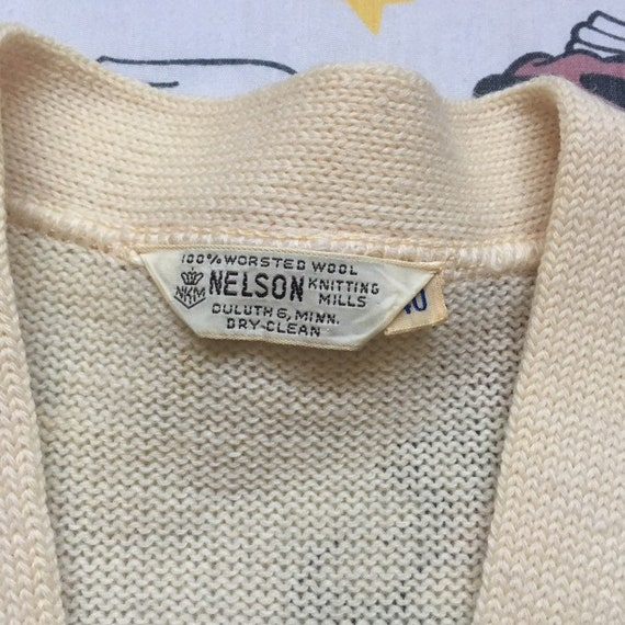 Vintage 50's Letterman Cardigan Sweater, size Sma… - image 8