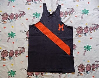 Vintage 50's Russell Southern navy athletic Tank Top, size Medium collegiate University
