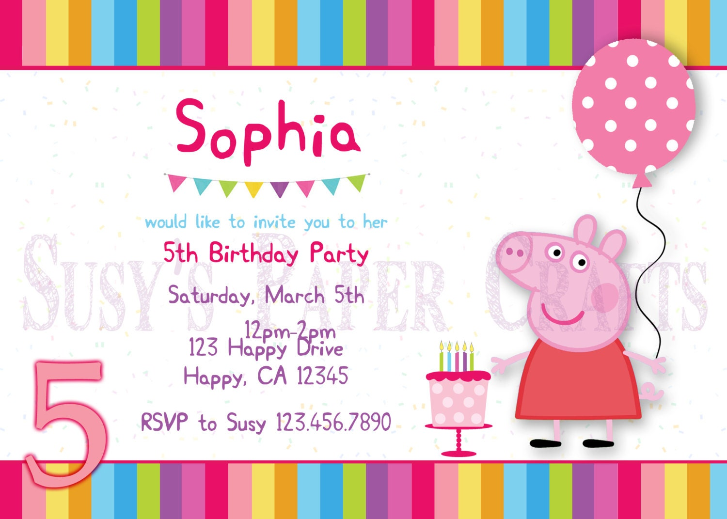 Peppa Pig Birthday Invitation Digital File You Print | Etsy