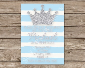 Prince First Birthday Invitation, Digital File, You Print