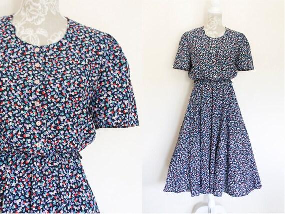 cd6ce6469c23 Vintage 80s Does 40s Tea Dress Navy Blue Ditsy Floral