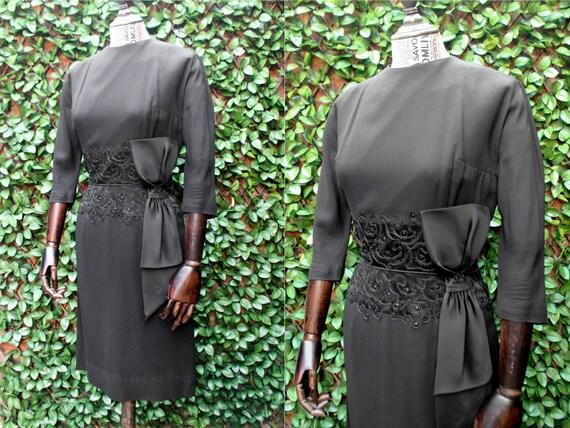 50s Little Black Wiggle Dress, Vintage 1950s Big B