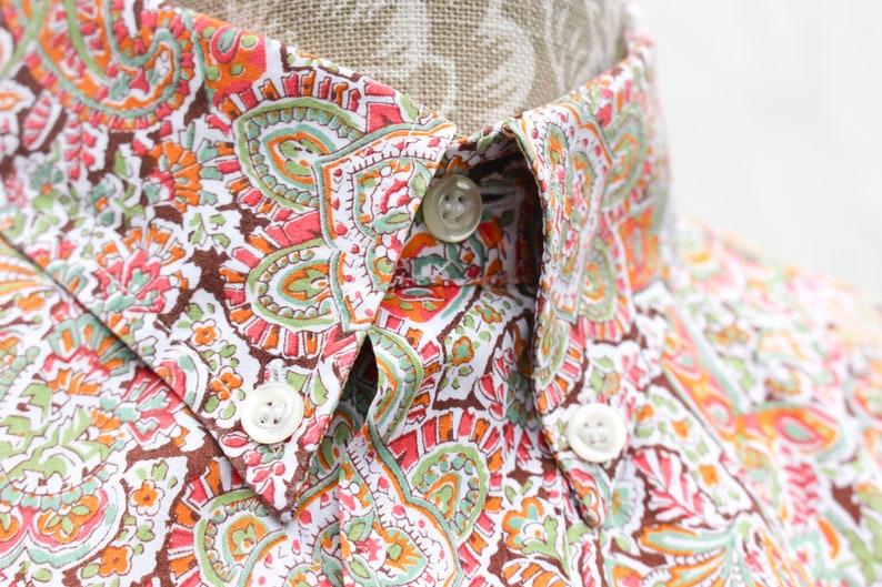 Liberty of London Shirt \u2022 Tana Lawn Floral \u2022 90s Vintage Oversized Mens Shirt \u2022 Retro Boho Groovy Cotton Casual Brown Orange Paisley Shirt.M