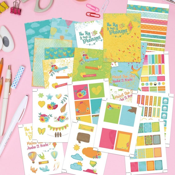 image regarding Printable Sticker Sheets named Printable Planner Stickers And Handles - Inside of The Sky. Exciting and colourful artwork influenced vertical printable sticker sheets, addresses and dividers.