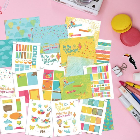 photograph about Printable Sticker Sheets titled Printable Planner Stickers And Addresses - Inside The Sky. Vibrant artwork motivated horizontal printable sticker sheets, addresses and dividers.