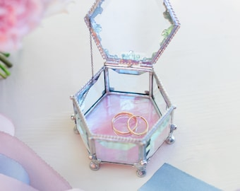 Wedding ring box, Pink Dream, Hexagon Jewelry Box, Glass Box, Engagement Ring Box, Stained glass box, vintage looking casket