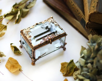 Wedding ring box,copper, Glass Box, engagement ring box, rectangular glass box, stained glass box, ring box, ring holder, jewelry box
