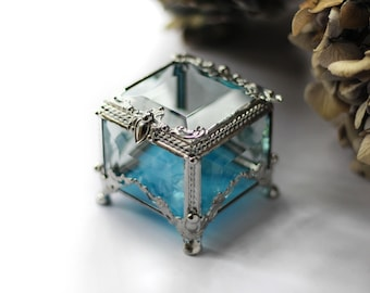 Bluу, silver Glass Box, square ring box, geometric glass box, stained glass box, wedding ring box, ring box, ring holder, jewelry box,
