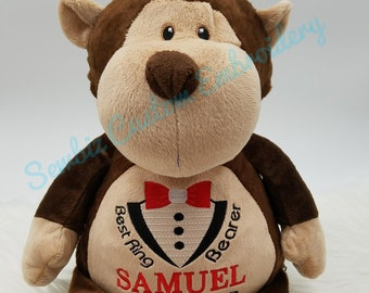 Personalized Ring Bearer Gift, Ring Bearer Stuffed Animal, Wedding Party Gift, Wedding Gift