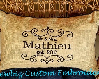 Personalized Wedding Gift,Personalized Anniversary Gift,Monogrammed Pillow,Embroidered Pillow