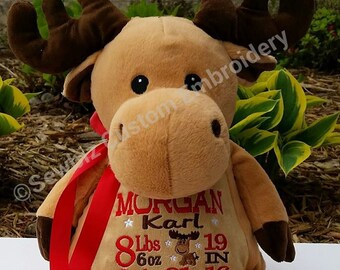 Personalized Baby Gift, Personalized Moose Stuffed Animal, Birth Announcement Animal,Personalized Moose, Adoption Gift, Baptism Gift