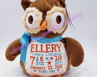 Schoolboy Chain Owl Gift for Birth or Baptism wooden girl boy baby