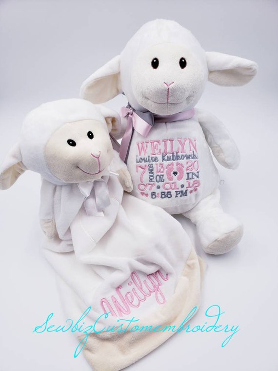 Personalized Baby Gift Set Birth Announcement Lamb Stuffed Etsy