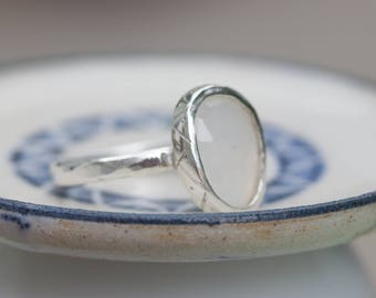 Milky Moonstone - sterling silver ring with free form rose cut milky moonstone gemstone