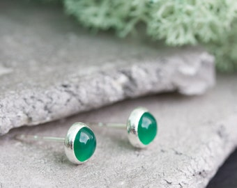 Minimalistic stud earrings with natural green agate, sterling silver, 5mm studs