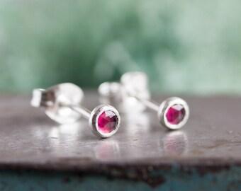 Rhodolite Garnet stud earrings, January birthstone, 3mm, sterling silver or 14k gold filled