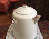 Cowboy Camp Coffee Pot Large Vtg Antique Red White Enamel Enamelware Pitcher