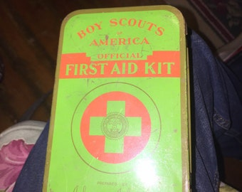 Vintage Boy Scout Johnson and Johnson First Aid Kit Metal Tin First Aid Kit
