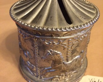 Vintage Silver Plated Carousel Bank, Perfect For Your Loose Change