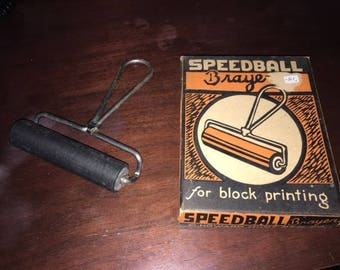 Vintage Block Printing Ink Roller, Metal Handle, Original Box, C. Howard Hunt Pen Co.