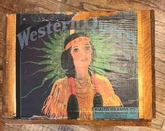 Western Queen Orange Crate/Box, Rialto Orange Co., Rialto, San Bernardino Co. California, USA