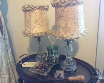 Vintage Set of Table Lamps 1940's, Glass Base, Very Cool Shades, Works Great