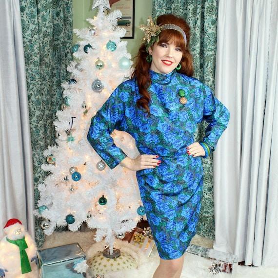 Vintage 1960s Blue Green Floral Mock Neck Party Co