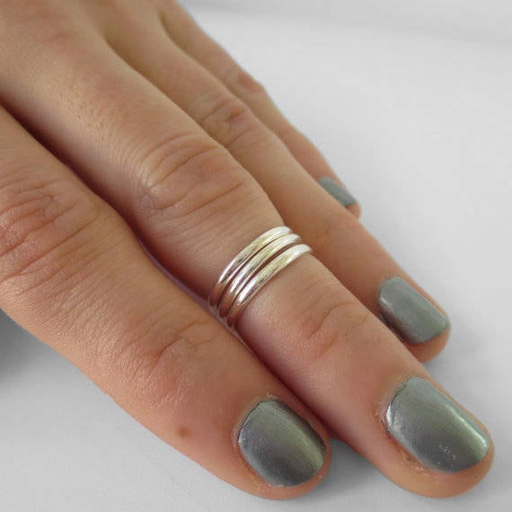 Solid Sterling Silver Mid Finger Beaded Knuckle Ring
