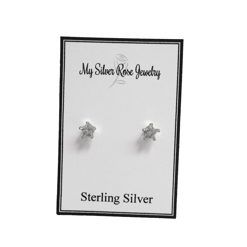 5bbcc3912 Star Cubic Zirconia Stud Earrings Sterling Silver 4 MM or 5 | Etsy