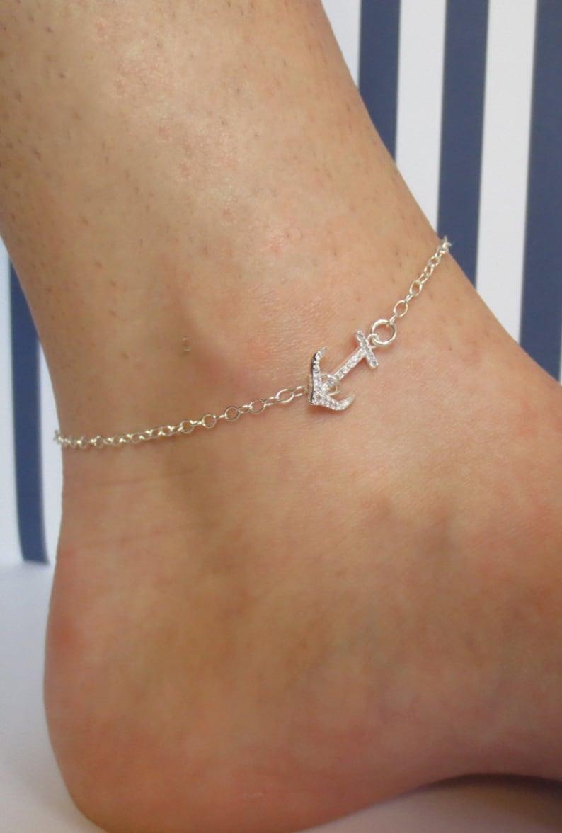 Anchor Ankle BraceletSterling Silver or Gold FilledCubic ZirconiaNavy Wife AnkletGold Anchor AnkletAnkle BraceletAnchor and CZ Anklet