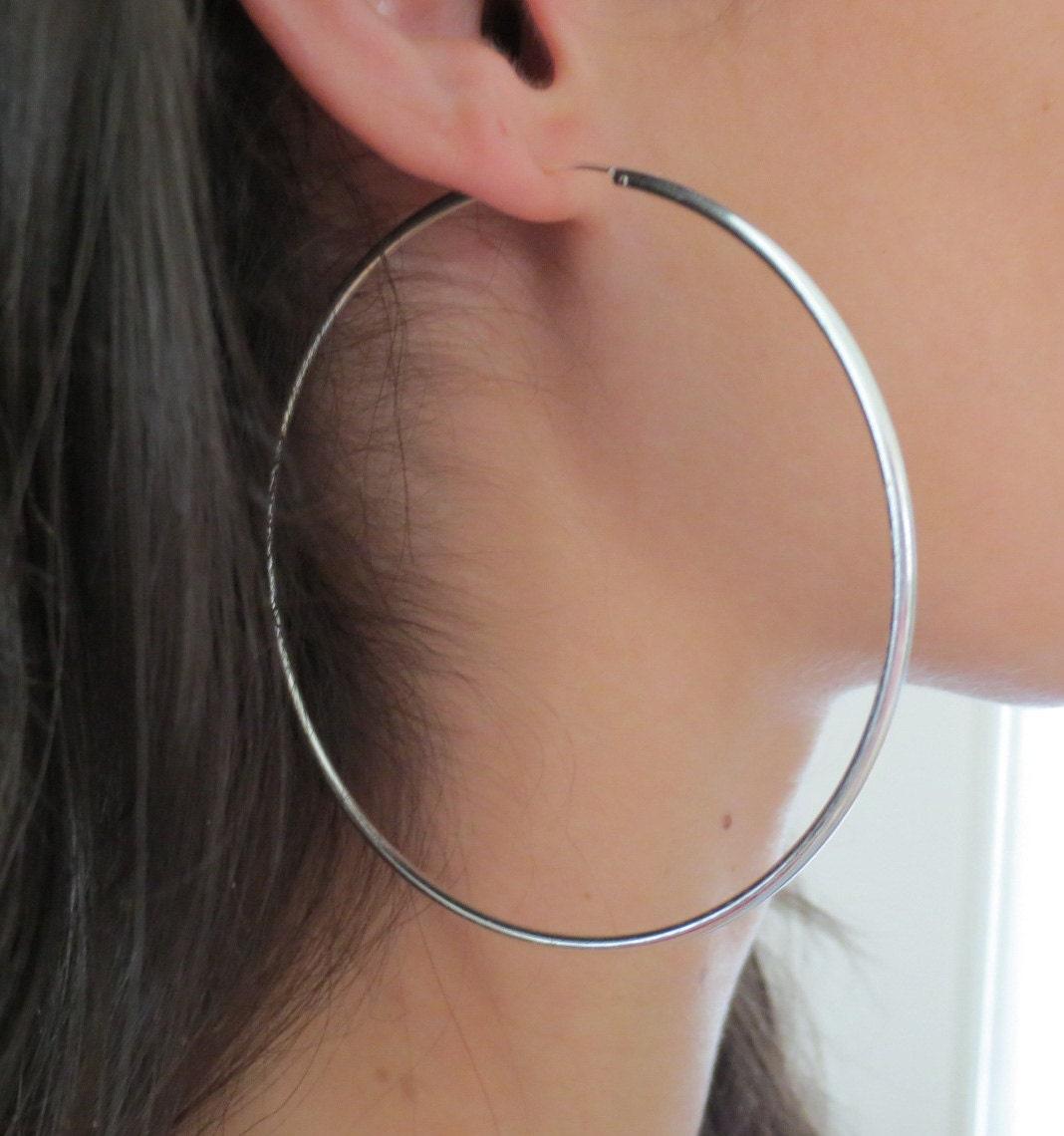 925 Sterling Silver X-Large Sleeper Thin Endless Hoops 60 mm Hoop Earrings Women