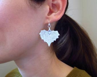 Genuine Cottonwood Earrings, Sterling Silver Real Leaf Earrings, Natural Cottonwood Leaf Earrings, Organic Jewelry, Botanical Jewelry