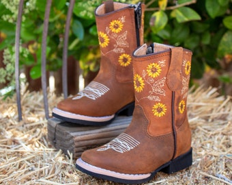 GIRLS TODDLER YOUTH western square toe leather cowboy boots