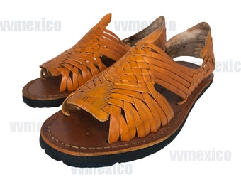 dd32bb547c79b MENS LEATHER HUARACHES Sandals made in mexico with tire sole  all sizes