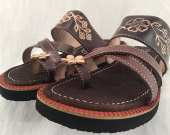 7efbece1688a WOMENS LEATHER HUARACHE traditional floral design mexican sandals