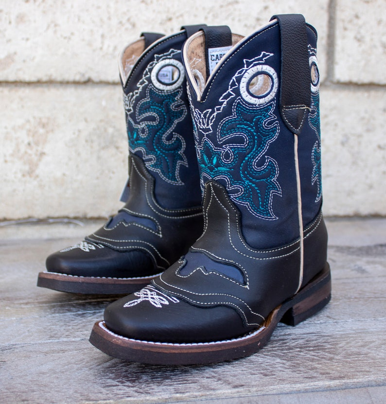 YOUTH TODDLER WESTERN longhorn square toe black leather cowboy boots