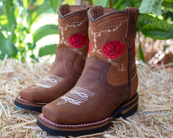 GIRLS walker TODDLER YOUTH western square toe leather cowboy boots