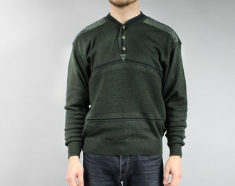 be666b68d Vintage Ribbed Khaki Mens Sweater, 90s Minimalist Deep Green Pullover  Office Jumper, S / M