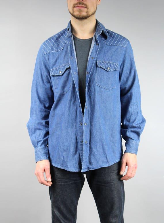 XXL Vintage Grunge Jean Blazer Extra Large Plus Size 80s Red DENIM Oversized Shirt
