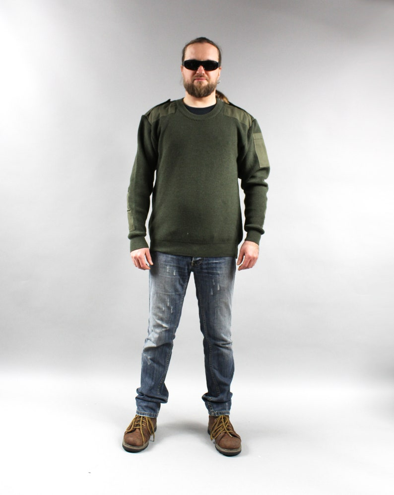 74321ba68eeed6 PLUS SIZE Military Khaki Mens Elbow Patch Sweater . Hunting | Etsy