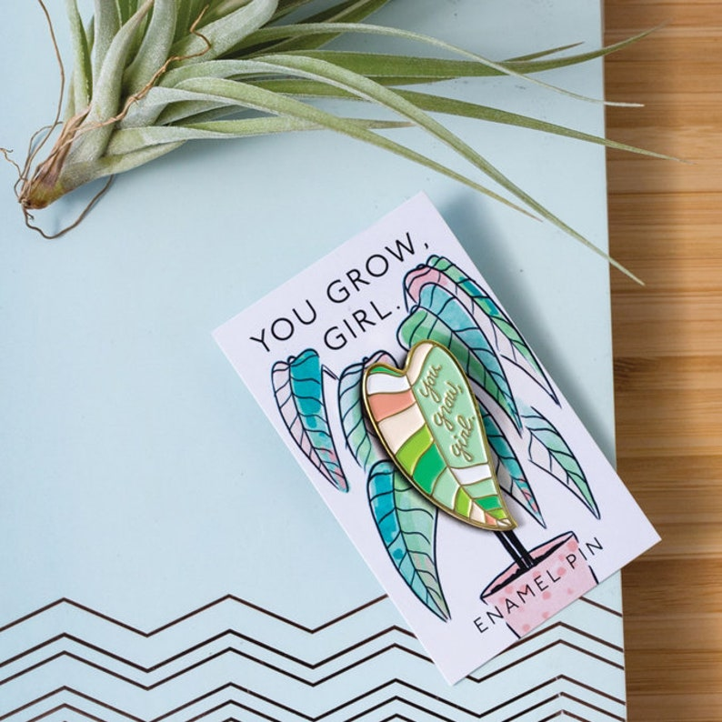 You Grow Girl Philodendron Plant Lady Enamel Pin