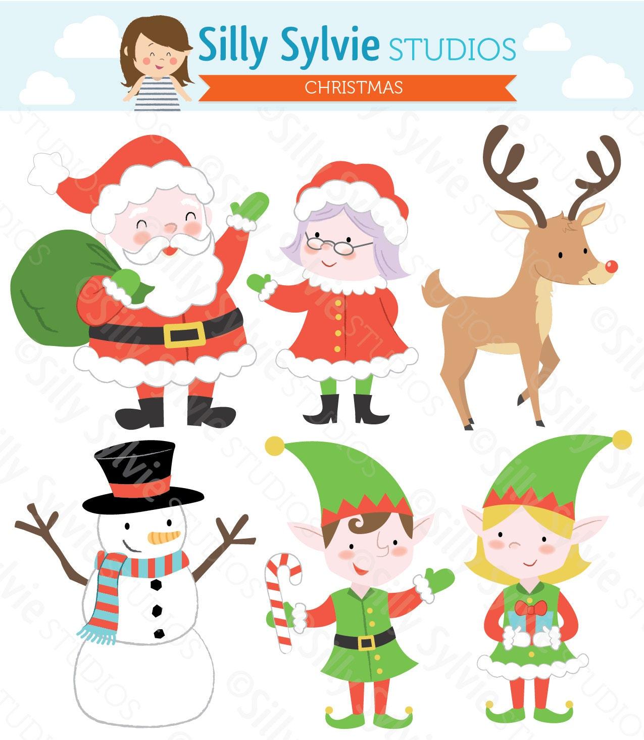 Weihnachten ClipArt: Weihnachtsmann Weihnachtsfrau Elfen | Etsy