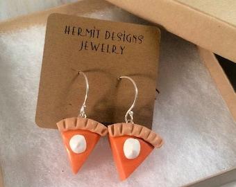 Pumpkin Pie Polymer Clay Earrings, Fun Thanksgiving & Halloween Charm Earrings