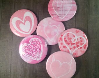 Set of 6 Pink Heart Magnets, Locker Magnets, Fridge Magnets, Kitchen Refrigerator Magnets, Valentine's Day Gift, Wedding Gift