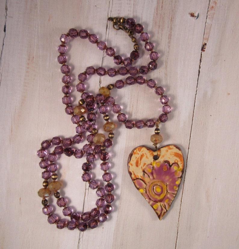 Boho Necklace Purple Knotted Bohemian Necklace Heart/Purple image 0