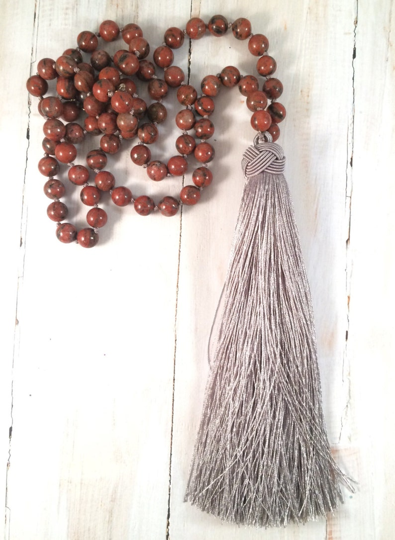 Long Bohemian Necklace Grey and Burnt Orange Jasper Silk image 0