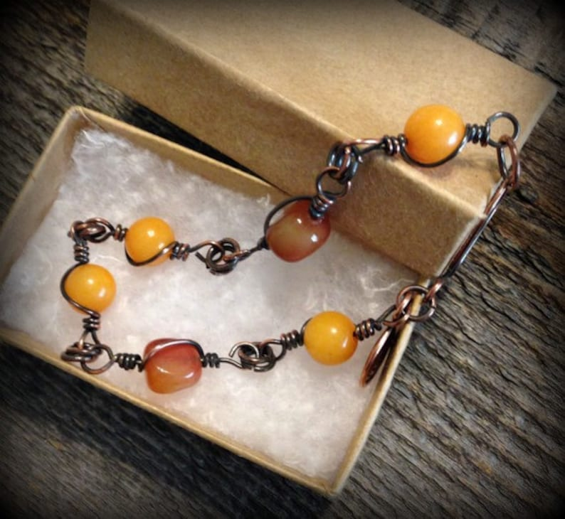 Mustard and Amber Bracelet Wire Wrapped Carnelian Quartzite image 0